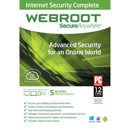 Webroot SecureAnywhere Internet Security Complete - 1-Year / 5-Device