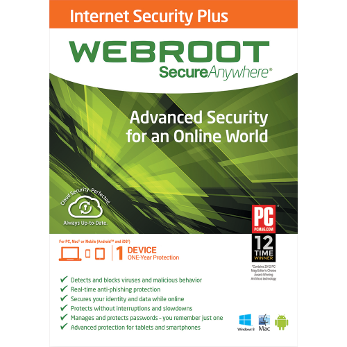 Webroot SecureAnywhere Internet Security Plus - 1-Year / 1-Device